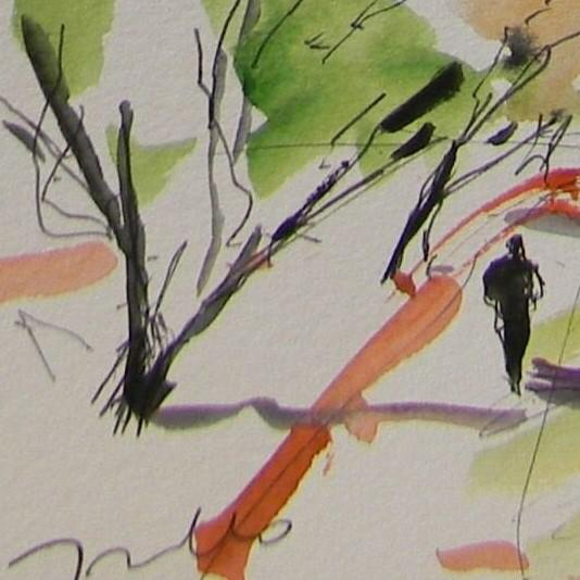 Jose Trujillo Original Impressionist Watercolor Painting - Grove Orchard Person For Sale - Image 4 of 4