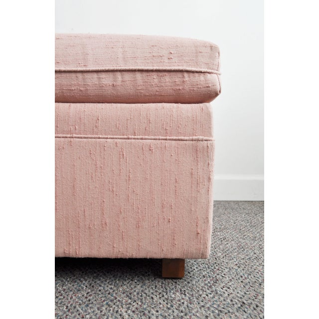 Blush Pink Upholstered Ottoman For Sale - Image 5 of 9