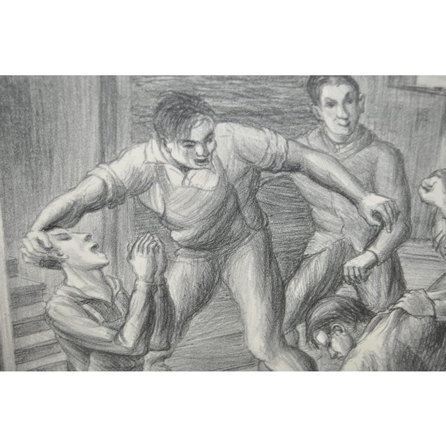 """""""Controversy"""" Social Realism Pencil Signed Lithograph by Jack McMillen - Image 5 of 8"""