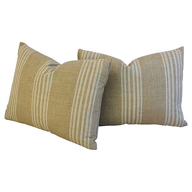Custom Tan & White French Ticking Feather & Down Pillows - A Pair - Image 6 of 11