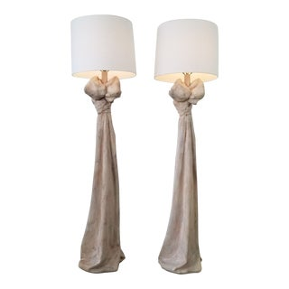 John Dickinson Style Sculptural Draped Plaster Floor Lamps - a Pair For Sale