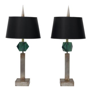 Pair of Table Lamps in Antique Silver Coloration and Green Faux Gemstone For Sale