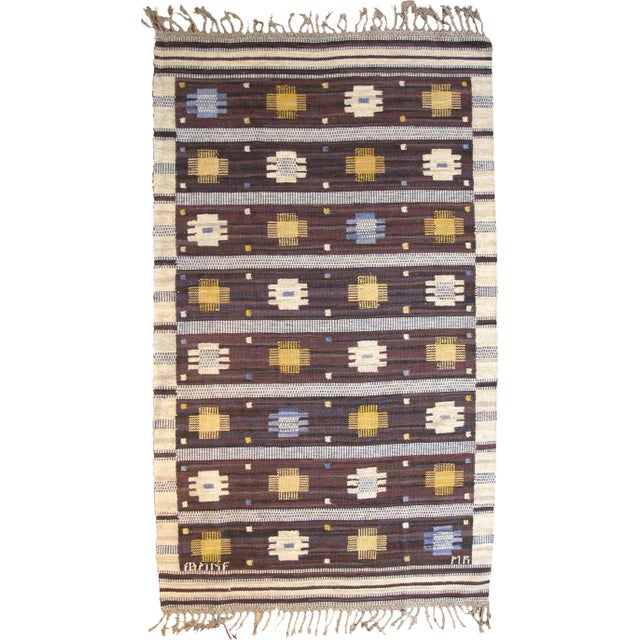 Mid 20th Century Mid 20th Century Swedish Flat Weave Rug For Sale - Image 5 of 5