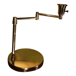 1970s Minimalistic Swing Arm Brass Table Lamp For Sale