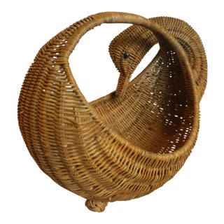 Long Neck Goose Wicker Basket For Sale