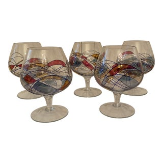 1960s Romanian Glass Milano Noir Crystal Brandy Snifters - Set of 5 For Sale