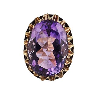 Vintage Large 14k Gold Faceted Amethyst Cocktail Ring For Sale