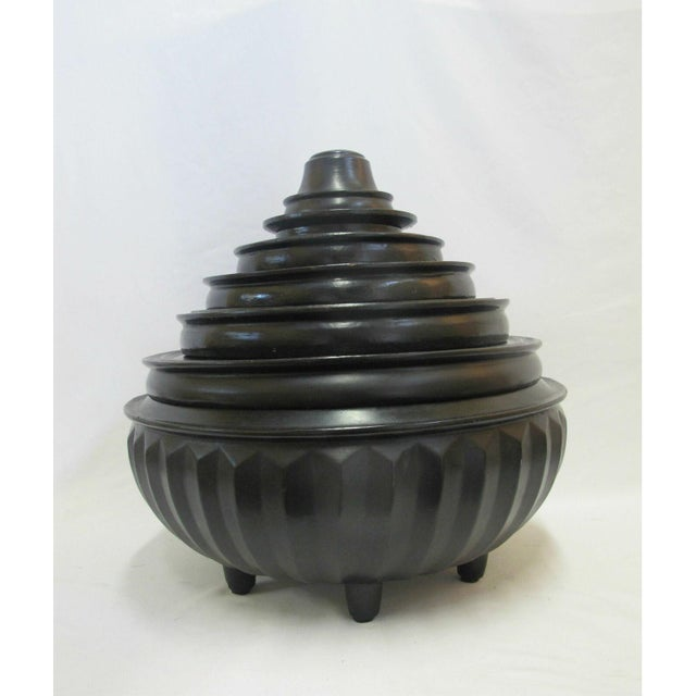 19th Century Antique Burmese Conical Compartment Food Offering Bowls- 7 Pieces For Sale - Image 12 of 12