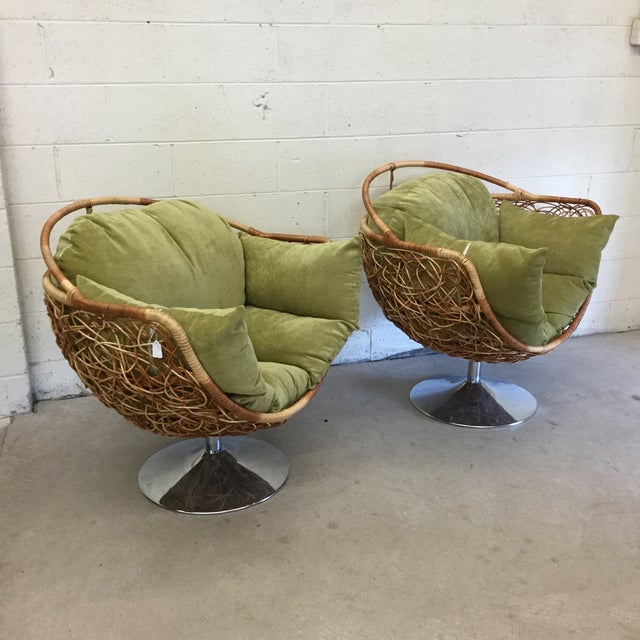 Wicker & Chrome Tulip Base Pod Lounge Chairs - a Pair For Sale - Image 13 of 13
