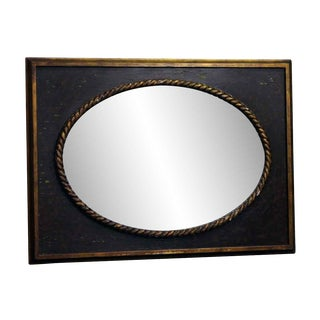 Oval Decorative Mirror With Rectangular Frame For Sale