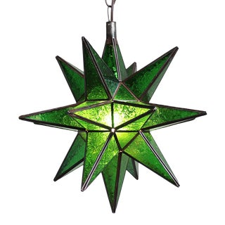 Moroccan Green Star Lantern For Sale
