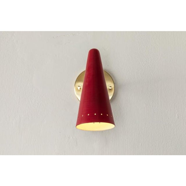 1960s 1960s Stilux Articulating Red Cone Sconces For Sale - Image 5 of 13