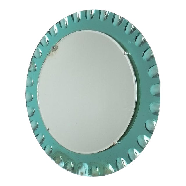Fontana Arte Attributed Wall Mirror Green Glass, Midcentury Italy For Sale