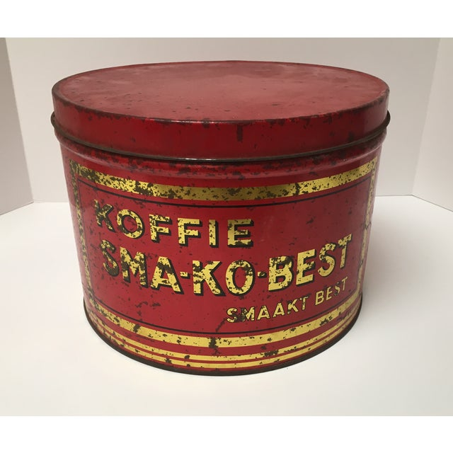 Imported from Germany. Large bright red coffee tin. Gold and black lettering. Commercial size from a European coffee shop....