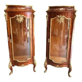 Louis XV Bronze Mounted Vitrine Cabinets - a Pair For Sale