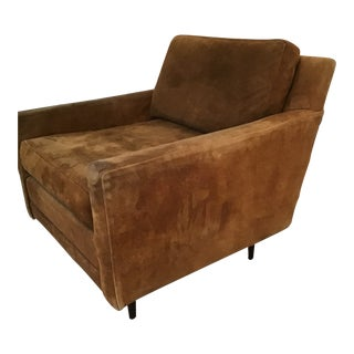 Milo Baughman Suede Club Leather Chair 1 of a Pair For Sale