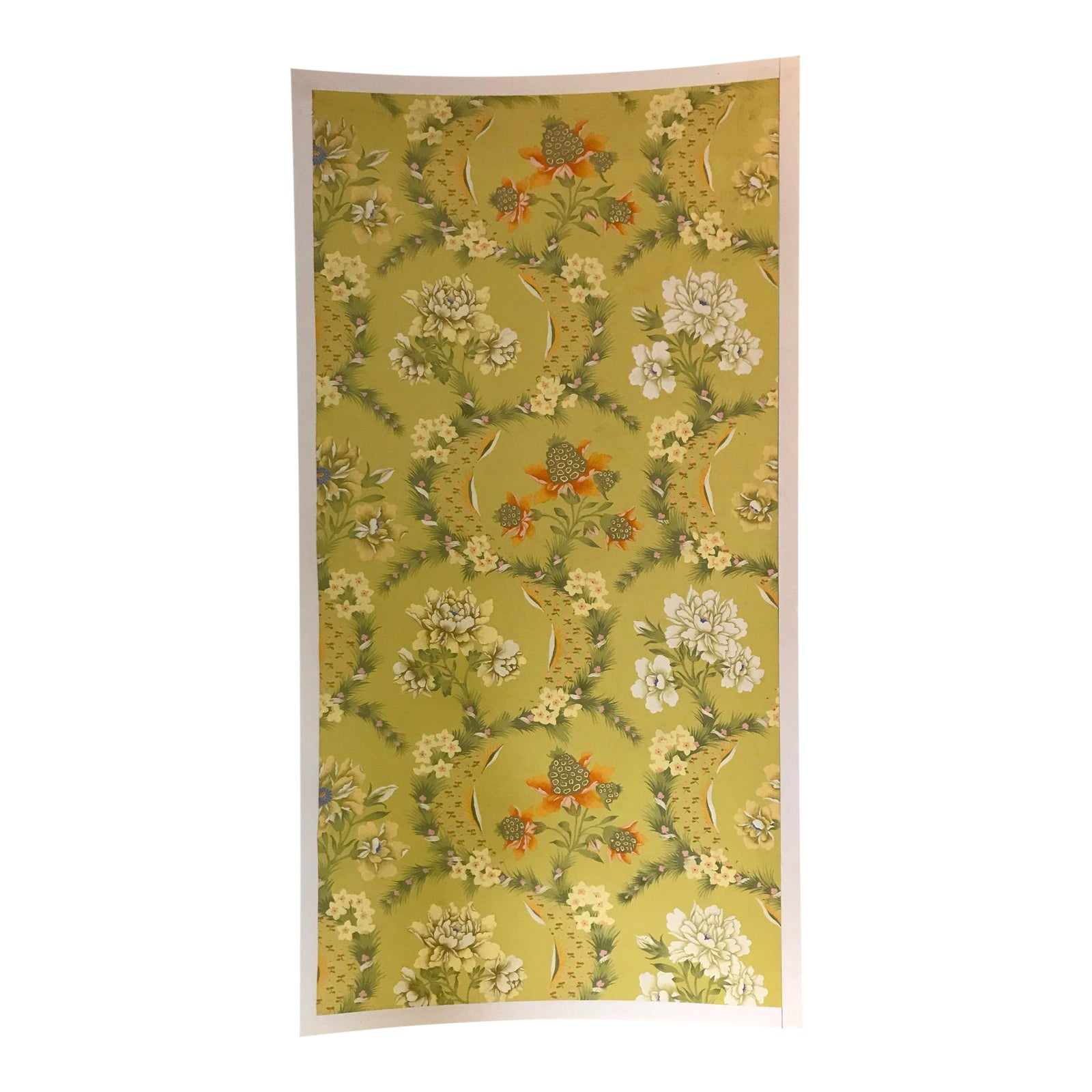 Boho Chic Floral Wallpaper Panel Silkscreened And Hand Painted