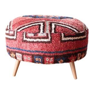 Vintage Moroccan Rug Ottoman For Sale
