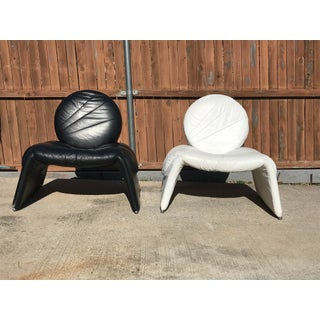Black and White Vintage Leather Italian Lounge Chairs - a Pair Preview