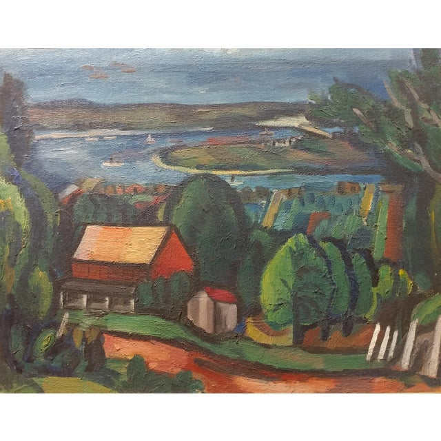 Modern Jean Liberte - Picturesque Village Over a Lake Landscape Original Oil Painting For Sale - Image 3 of 11