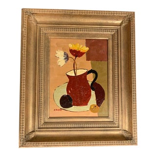 Gold Framed Mid Century Modern Palette Knife Still Life Painting For Sale