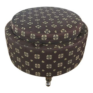 Shabby Chic Upholstered Pouf Form Ottoman For Sale