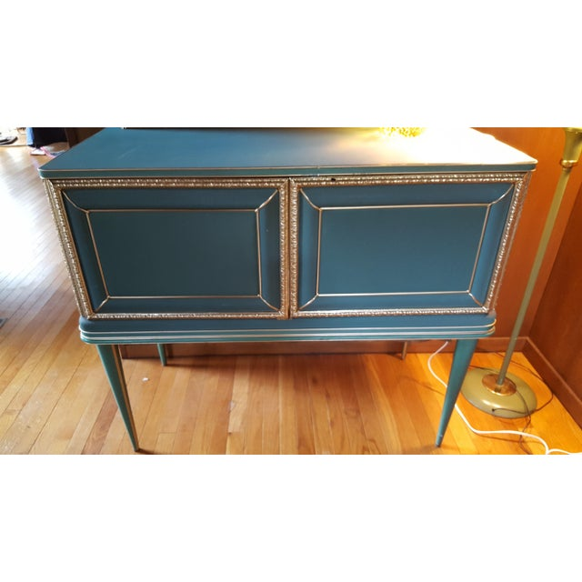 Vintage Mid-Century Turquoise and Gold Side Table & Chair For Sale - Image 4 of 10