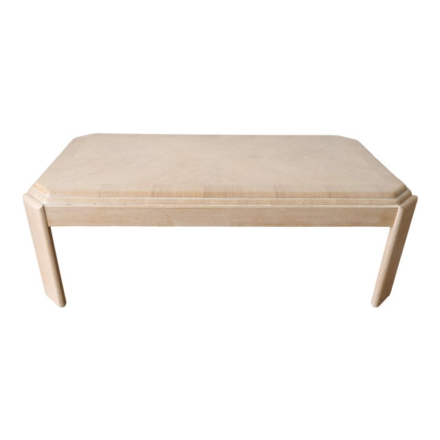 1980s Modern Tiered White-Washed Solid Wood Coffee Table For Sale