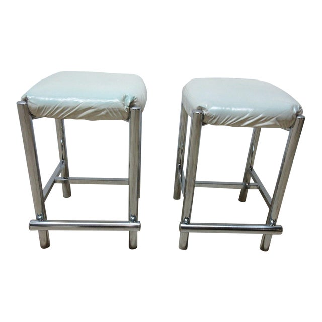 Mid-Century Cal Style Chrome Counter Bar Stools - A Pair For Sale