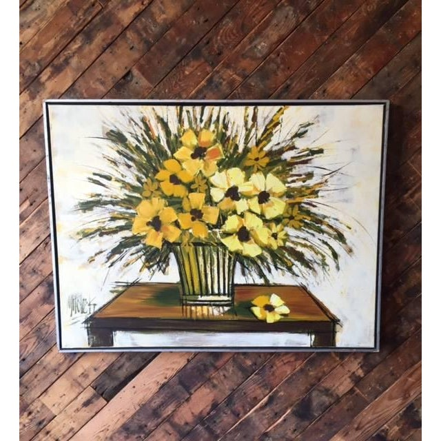 Mid Century Still Life Floral Oil Painting - Image 2 of 4