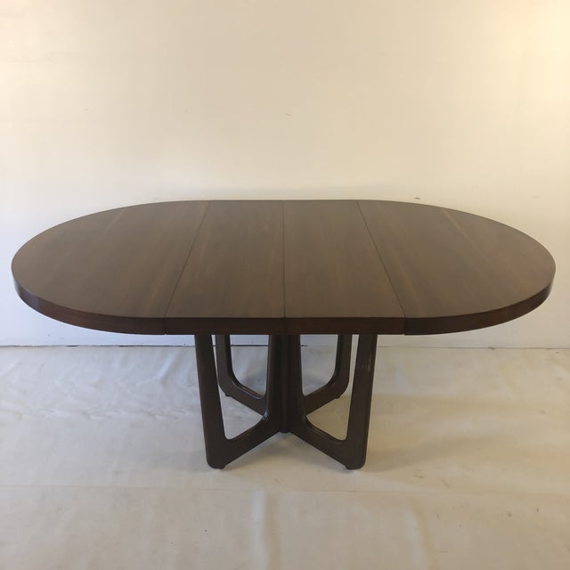 1960s Danish Modern Walnut Base Dining Table With 2 Leaves For Sale - Image 13 of 13