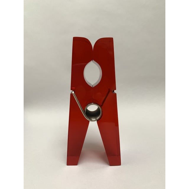 Oversized Red Lucite Clothespin Paperweight or Paper Holder For Sale - Image 10 of 13