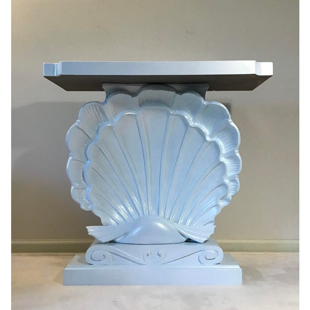 Palm Beach Regency 1950s Edward Wormley Dunbar Style Carved Wood Shell Console Table White Blue Pearl For Sale - Image 13 of 13
