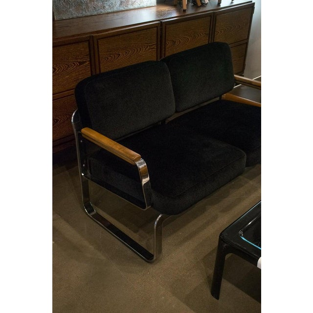 Midcentury Chrome and Mohair Loveseat, Chair and Table Set, 1960s For Sale - Image 9 of 11
