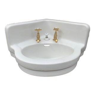 Vintage 'Standard' Porcelain Corner Sink and Solid Brass Faucets For Sale