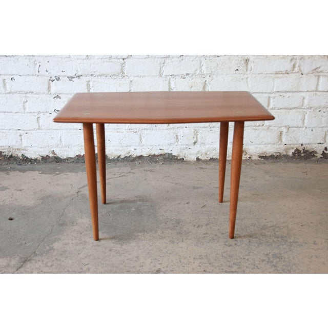 1950s Swedish Modern Teak and Brass Side Table by Dux For Sale - Image 5 of 10