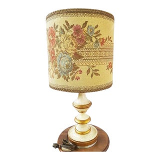 1960s French Lighting Needlepoint Lampshade Desk Lamp For Sale