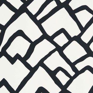 Sample - Schumacher Zimba Stripe Geometric Wallpaper in Black For Sale