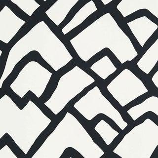 Sample - Schumacher Zimba Stripe Geometric Wallpaper in Black For Sale