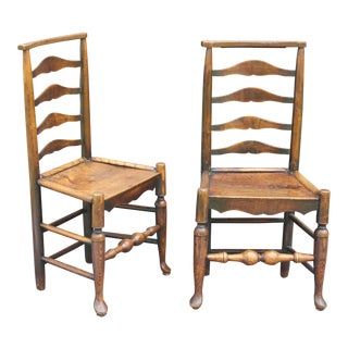 Antique English Elm Youth / Child's Chairs - A Pair