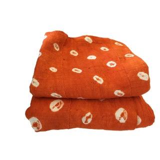 African Textile Mud Cloth Orange & White Bogolan - Set of 2