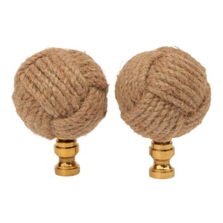 Jute Knot Lamp Finials - a Pair For Sale