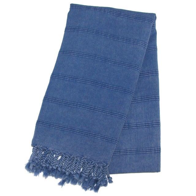 Handwoven Turkish Denim Blue Towel - Image 1 of 2