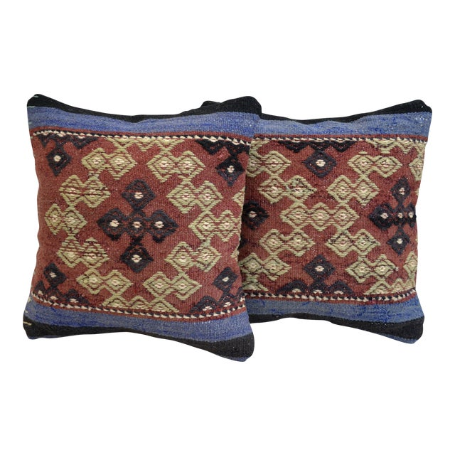 Vintage Turkish Kilim Pillow Covers - A Pair - Image 1 of 5