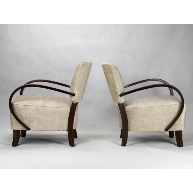 Art Deco 1930s Model H 237 Art Deco Armchairs by Jindrich Halabala- A Pair For Sale - Image 3 of 6