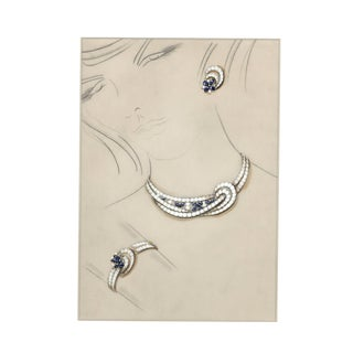Rare! Matted Original French Jewelry Fashion Design in Gouache For Sale