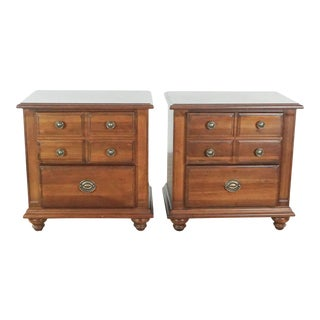 Broyhill Wooden Nightstands - a Pair For Sale