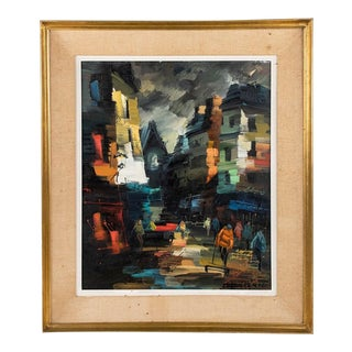 Street View at Night in Paris Oil on Canvas by Boris Cenic For Sale