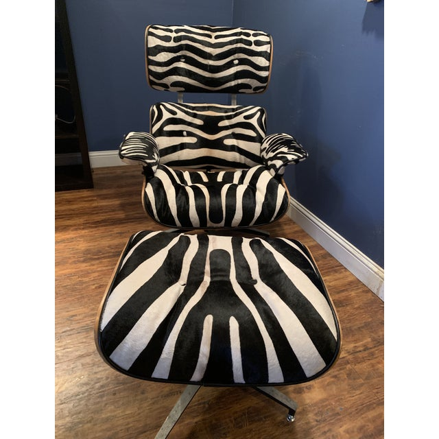 Wood Modern Custom Zebra Hide Eames Style Lounge Chair and Ottoman For Sale - Image 7 of 12