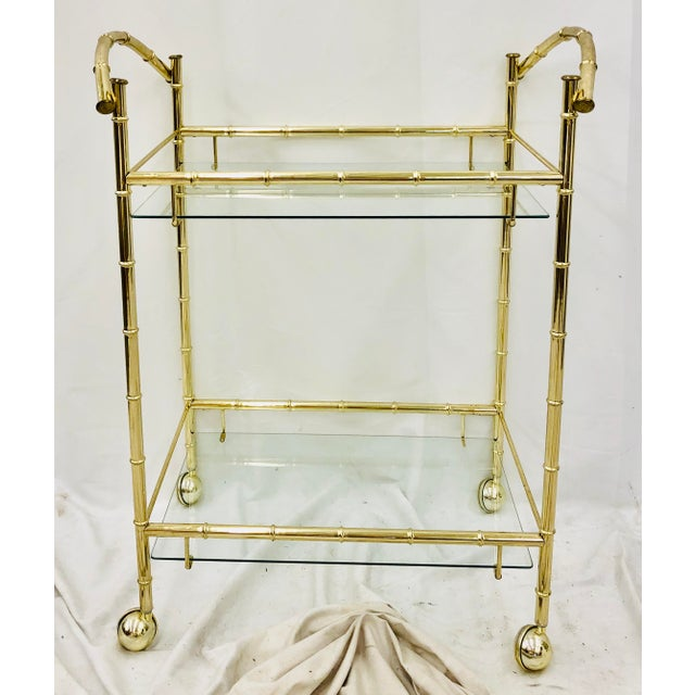 Pace Collection Vintage Hollywood Regency Faux Bamboo Bar Cart For Sale - Image 4 of 8